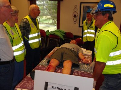 Man used for CERT bandage training class