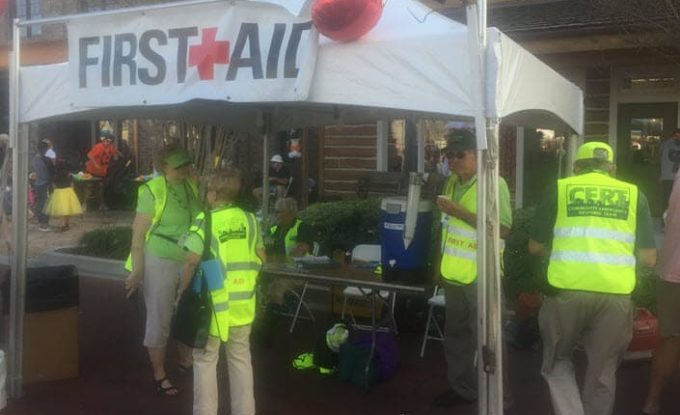 First Aid Tent on Brownwood square staffed by CERT members